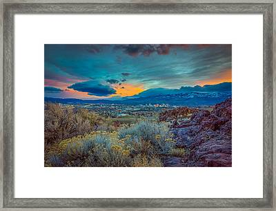 Reno Winter Storm Sunset Framed Print by Scott McGuire