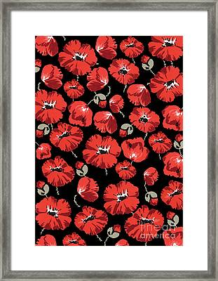 Repeating Pattern Of Poppies Montage On Black Background Framed Print