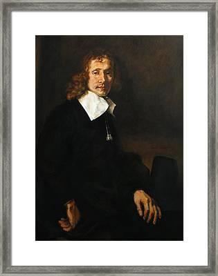 Replica Of Rembrandt's Young Man Seated At A Table Framed Print