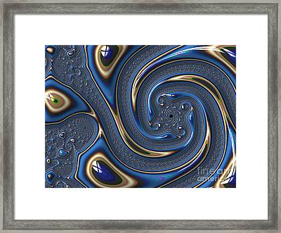 Repousse In Blue Framed Print by John Edwards