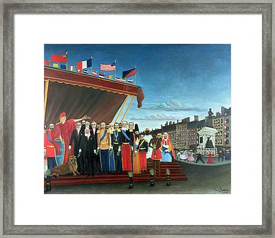 Representatives Of The Forces Greeting The Republic As A Sign Of Peace Framed Print by Henri Rousseau