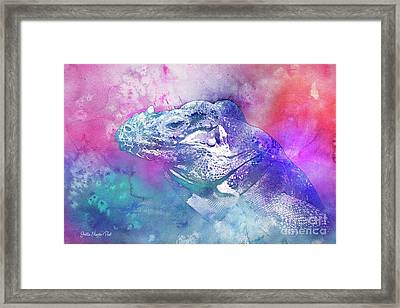 Framed Print featuring the mixed media Reptile Profile by Jutta Maria Pusl