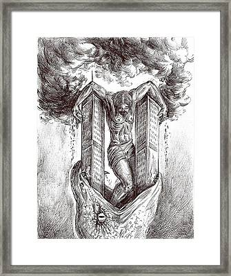reptilluminatidomination II Framed Print by Darwin Leon