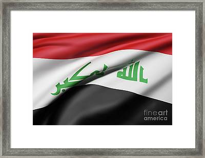 Republic Of Iraq Flag Waving Framed Print