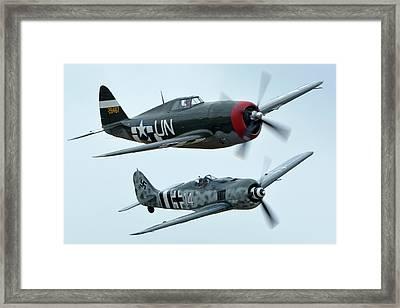 Republic P-47g Thunderbolt Nx3395g Focke Wulf Fw 190a-9 N190rf Chino California April 30 2016 Framed Print by Brian Lockett