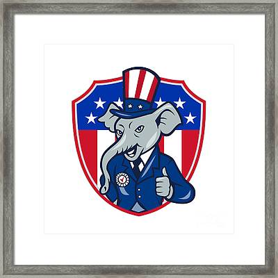 Republican Elephant Mascot Thumbs Up Usa Flag Cartoon Framed Print by Aloysius Patrimonio