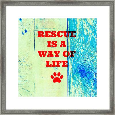 Rescue Is A Way Of Life Framed Print