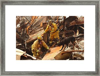 Rescue Workers From The California Task Framed Print by Everett