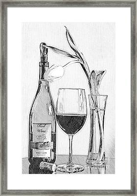 Reserved Table For One In Black And White Framed Print