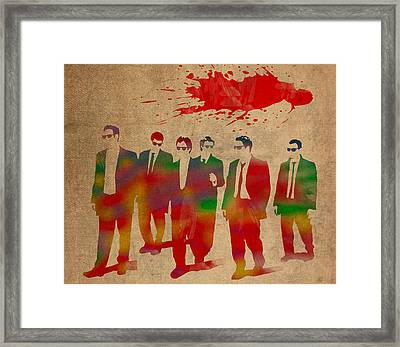 Reservoir Dogs Movie Minimal Silhouette Watercolor Painting Framed Print by Design Turnpike
