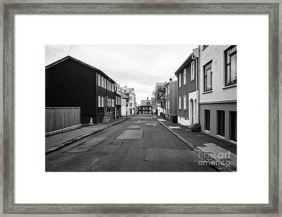 Residential Street With Multi Storey Corrugated Iron Clad Buildings Reykjavik Iceland Framed Print