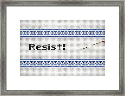 Resistance Cross Stitch Framed Print