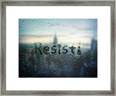 Resistance Foggy Window Framed Print