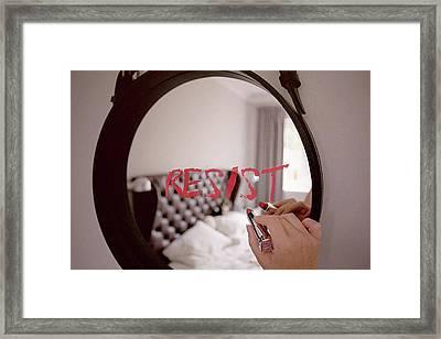 Resistance Lipstick Framed Print