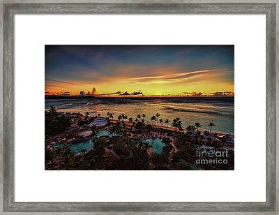 Framed Print featuring the photograph Resort Sunset by Ray Shiu