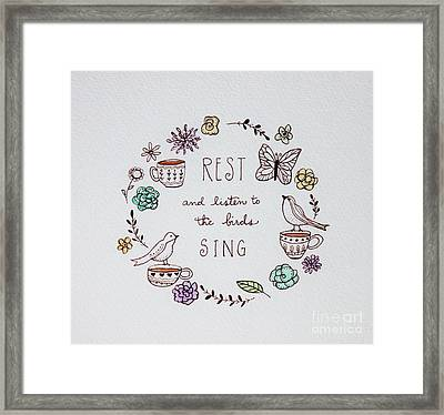 Rest And Listen To The Birds Sing Framed Print by Elizabeth Robinette Tyndall