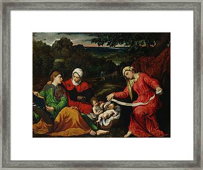 Rest On The Flight Into Egypt Framed Print by Paris Bordone