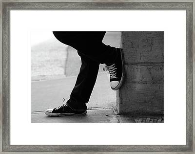 Framed Print featuring the photograph Rest Then Tackle  by Empty Wall