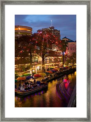 Restaurant Along A River Lit Framed Print by Panoramic Images