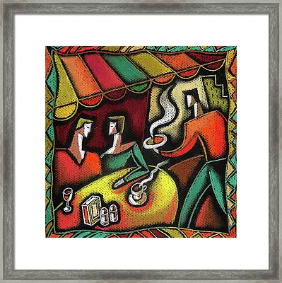 Framed Print featuring the painting Restaurant by Leon Zernitsky