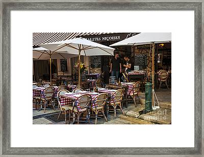 Restaurant On Rue Pairoliere In Nice Framed Print