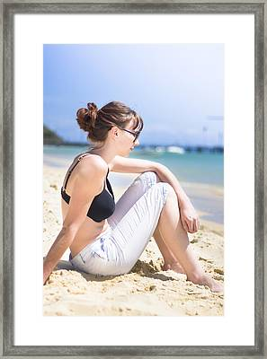 Resting Beach Babe Framed Print by Jorgo Photography - Wall Art Gallery