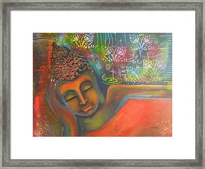 Buddha Resting Against A Colorful Backdrop Framed Print