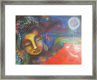 Buddha Resting Under The Full Moon  Framed Print