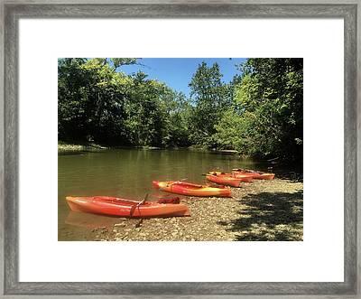 Resting Kayaks Framed Print