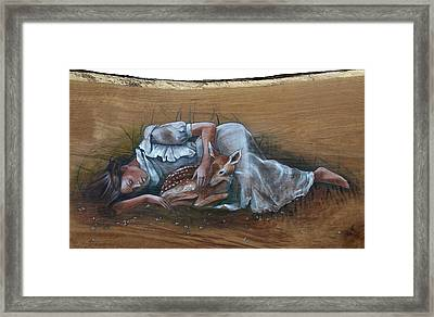 Resting Maiden With Fawn Framed Print by Jacque Hudson