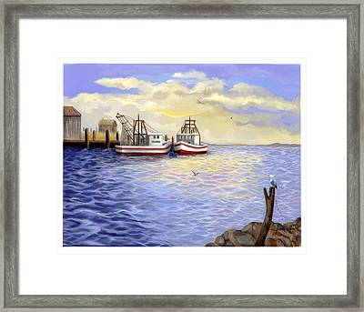 Framed Print featuring the painting Resting Nets by Sena Wilson