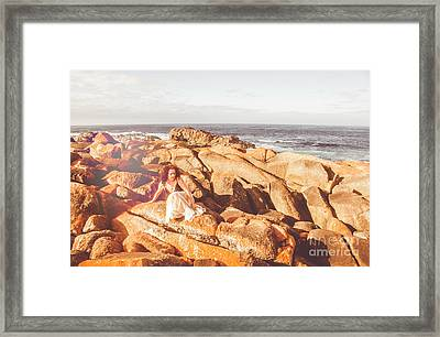 Resting On A Cliff Near The Ocean Framed Print