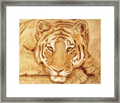 Framed Print featuring the tapestry - textile Resting Tiger by Dale Loos Jr