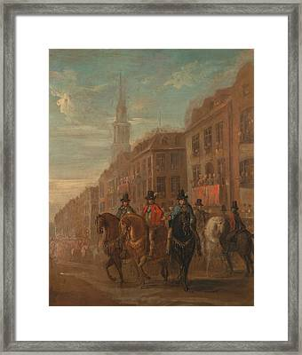 Restoration Procession Of Charles II At Cheapside Framed Print