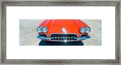 Restored Red 1959 Corvette, Front Framed Print