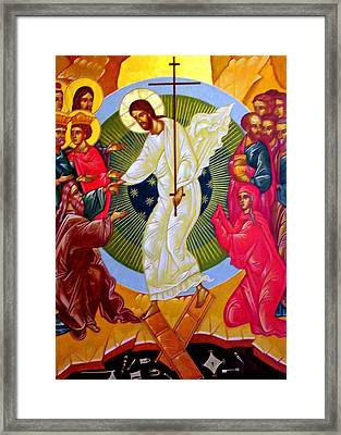 Resurrection And The Cross Framed Print