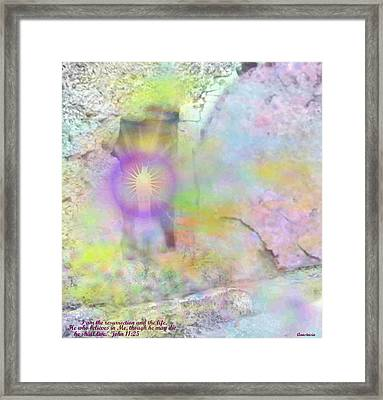 Framed Print featuring the photograph Resurrection Moment Garden Tomb Vision With  Inspirational Verse  by Anastasia Savage Ealy