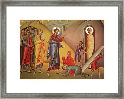Framed Print featuring the painting Resurrection Of Lazarus by Munir Alawi