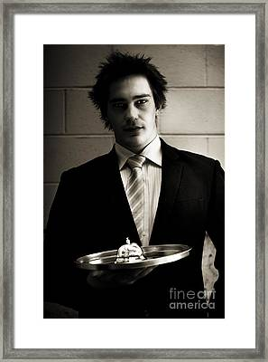 Retail Salesman Or Waiter Holding Service Bell Framed Print by Jorgo Photography - Wall Art Gallery