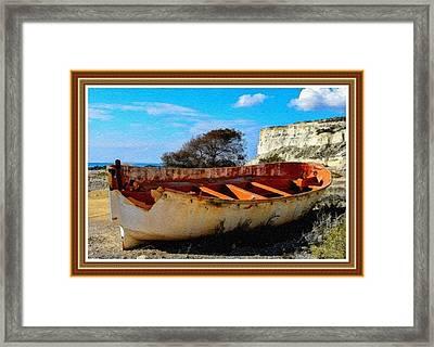 Retired Fishing Boat L B With Alt. Decorative Ornate Printed Frame. Framed Print