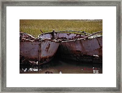 Retired Fishing Boats Framed Print by Becky Sundeen
