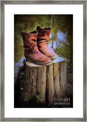 Retired Going Fishing Framed Print by Karry Degruise