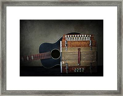 Retired Guitar And Accordian Framed Print