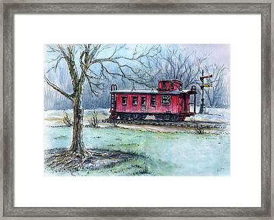 Retired Red Caboose Framed Print by Retta Stephenson