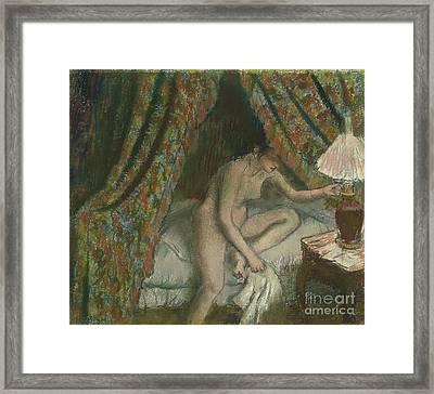 Retiring Framed Print by Edgar Degas