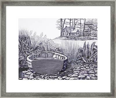 Framed Print featuring the drawing Retreat by Elly Potamianos