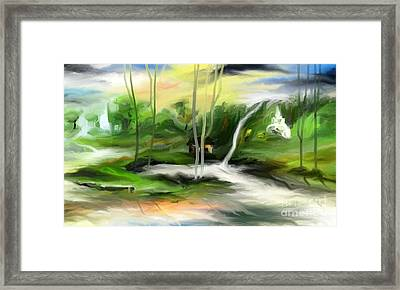 Framed Print featuring the painting Retreat by Rushan Ruzaick