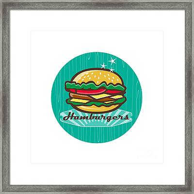 Retro 1950s Diner  Hamburger Circle  Framed Print