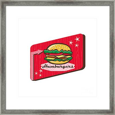 Retro 1950s Diner Hamburger Sign Framed Print