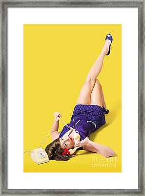 Retro 1950s Pinup Girl Chatting On Telephone Framed Print
